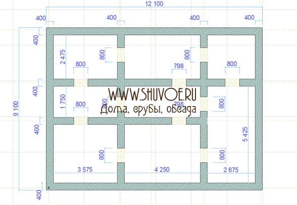 План фундамента под брусовой дом 9х12