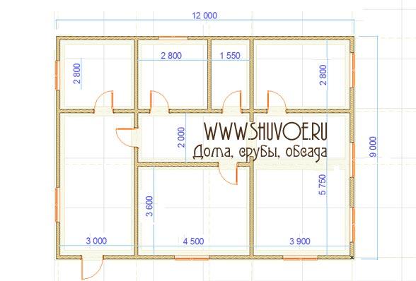 План 1 этажа брусового дома 9х12