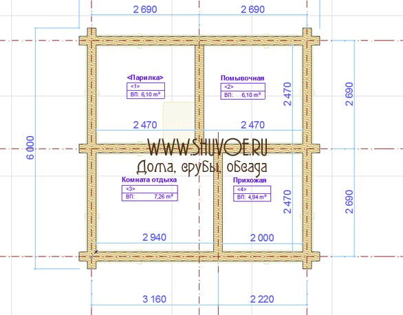 План сруба 6х6 - баня