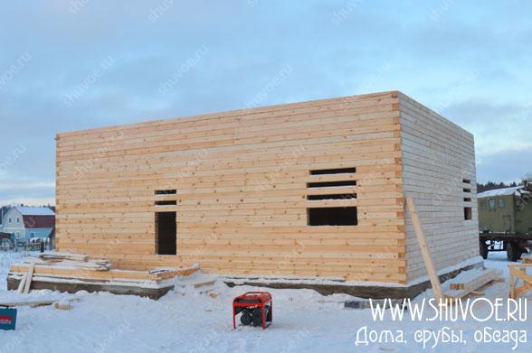 Строительство брусового дома 10 на 11, январь 2014