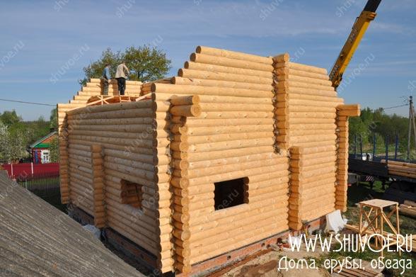 Строительство дома из сруба: установка на фундамент