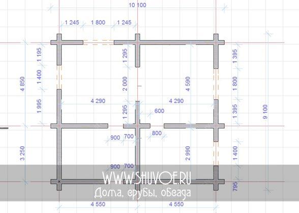 План первого этажа дома 9*10