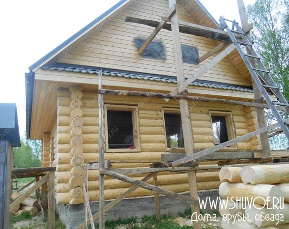 Обсада и окна в рубленом доме - отчет с фото