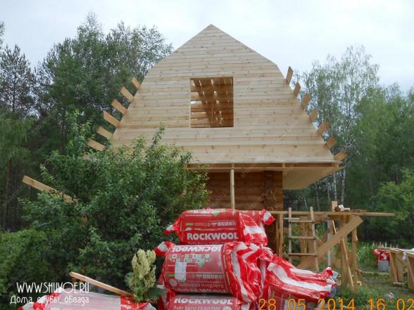Строительство крыши на срубе бани