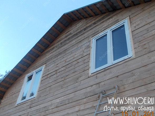 Пластиковые окна в обсаде, брусовой дом