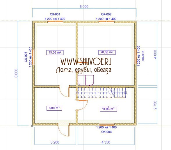 План 1 этажа деревянного дома 8х8