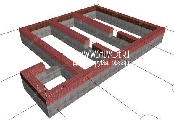 Фундамент для брусового дома 9х10, модель