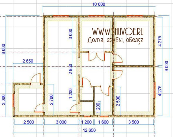 План 1 этажа брусового дома 9х10