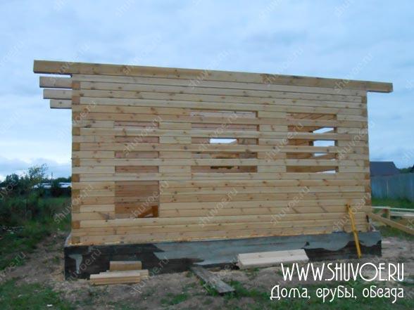 Дом 6*9 из профилированного бруса, фото строительства сруба 2