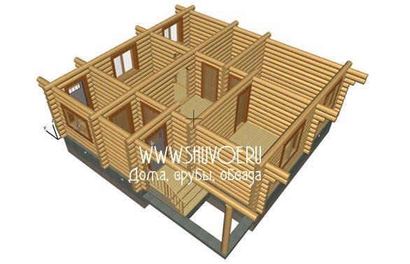 Проект сруба для дома 10х10