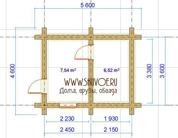 Сруб бани 5х6, план