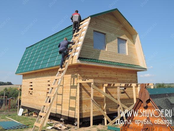 Строительство дачного дома 6х9 в деревне Козлянино Московской области. Согласно проекту дом строился из профилированного бруса 150х150 мм на свайном