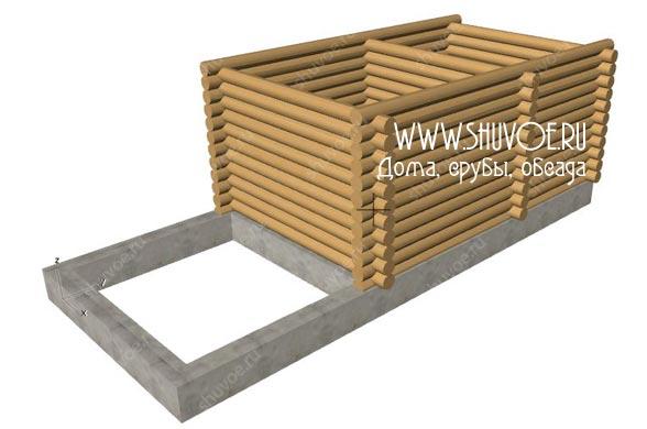 Проект бани 6х4 с открытой верандой под общей крышей