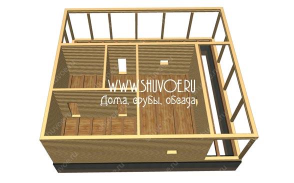 Модель брусовой бани, разработана в компании Шувое