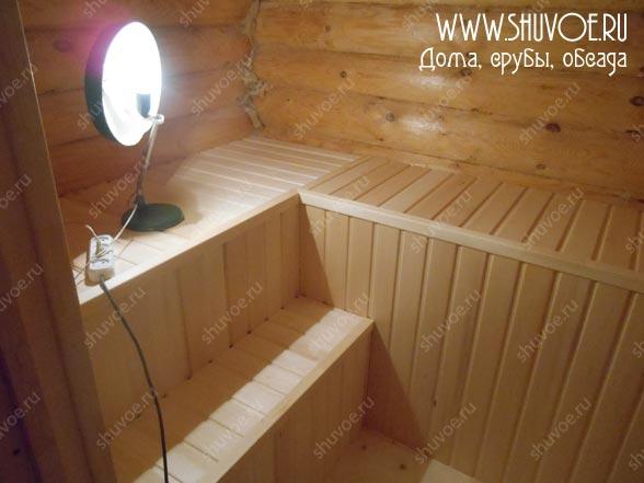 Отделка парной в деревянной бане