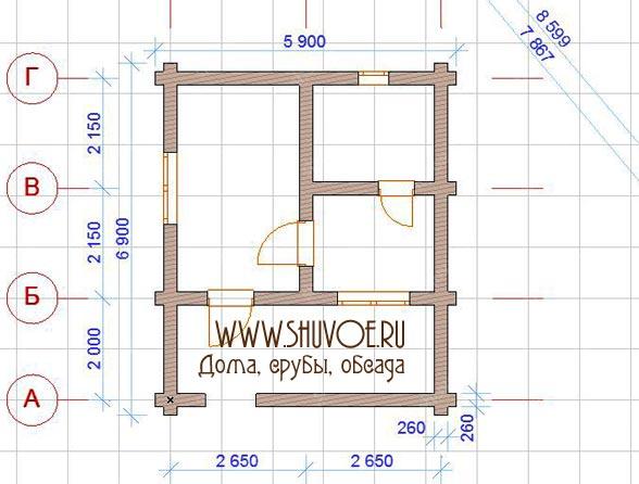 План деревянной бани 6х7