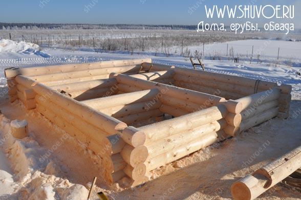 Строительство сруба с верандой