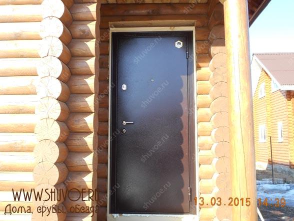 Окосячка с установкой металлической двери - Шувое, март 2015