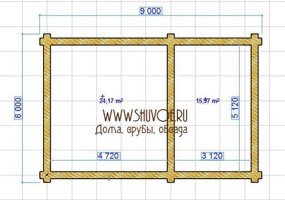 Рубка срубов в Шувое - на фото планировка сруба 6х9
