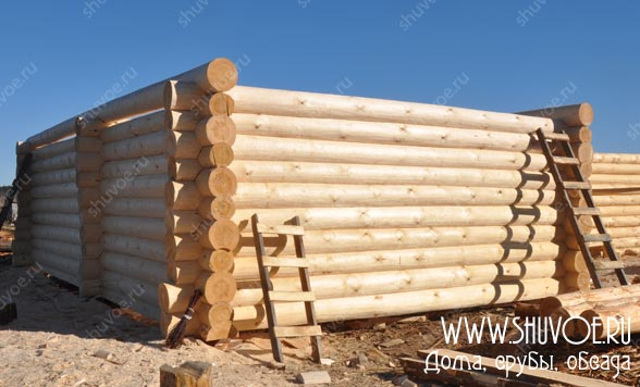 Строительство сруба из бревен диаметром 28 мм