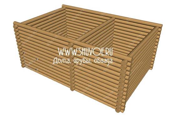 Рубка срубов в Шувое - на фото модель сруба 6х9