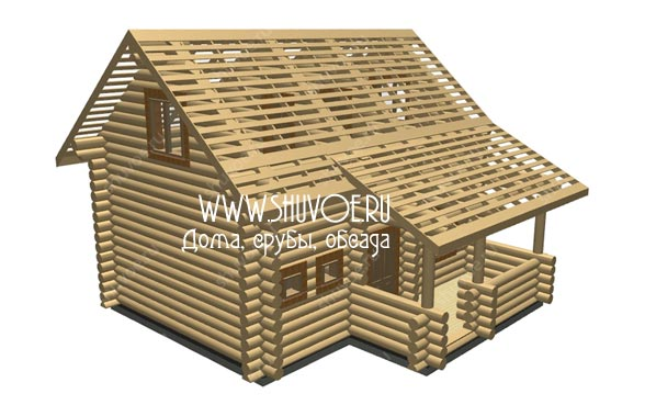 Деревянный дом 7х9 с верандой.