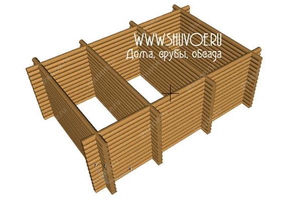 Строительство сруба под баню размером 6,5 на 9,5 метров в компании Шувое: модель сруба