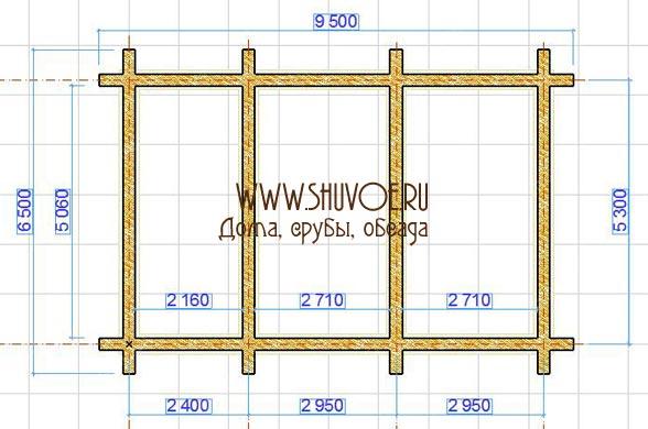 Строительство сруба под баню размером 6,5 на 9,5 метров в компании Шувое:  планировка сруба