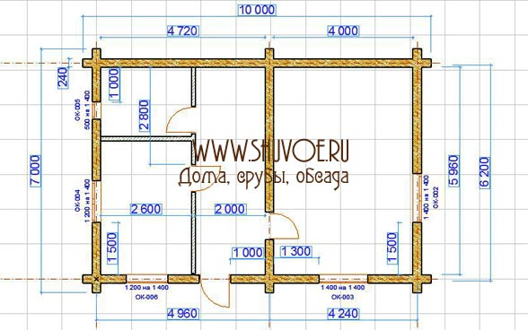 Планировка сруба 7х10, под дачный дом.