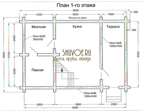 План 1 этажа дома-бани 6 на 9 метров.