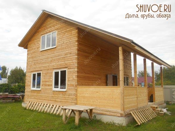 Брусовой дом 6х9 с верандой 3х9, построенный компанией Шувое в Электрогорске.