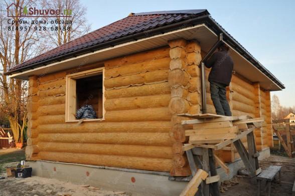 Строительство дома-бани 6х9 из бревен.