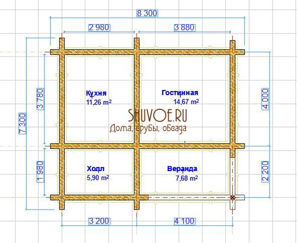 Летний домик из сруба 7х8 - планировка.