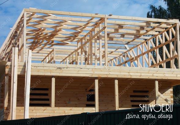 Строительство 2 этажа брусового дома.