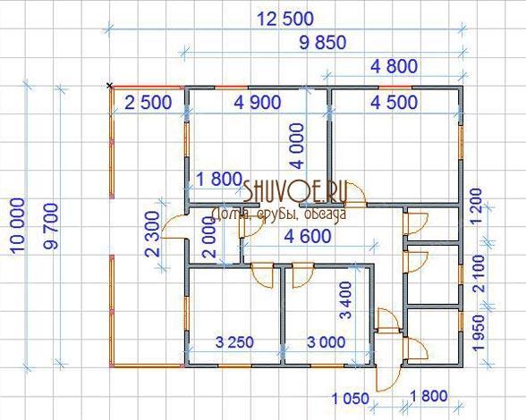 Планировка брусового дома 10х12 метров, 1 этаж.