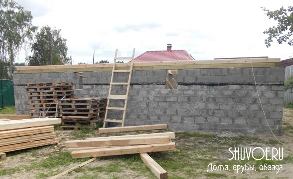 Нижняя обвязка при строительстве брусового дома.