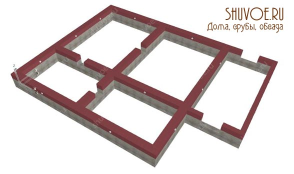 Создание модели фундамента под брусовой дом.