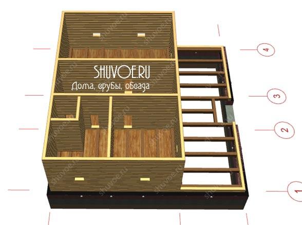 3Д модель деревянного дома 9х9
