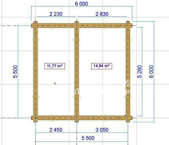План рубки сруба-пятистенка 6х6.