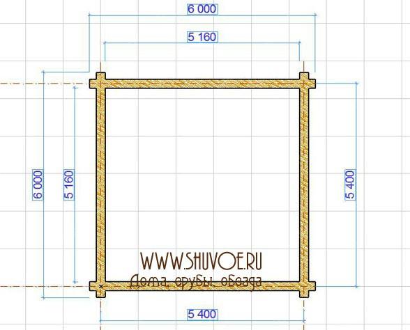 Схема рубки сруба в чашу с размерами.