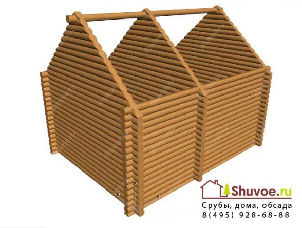 Модель сруба дома с рублеными фронтонами.
