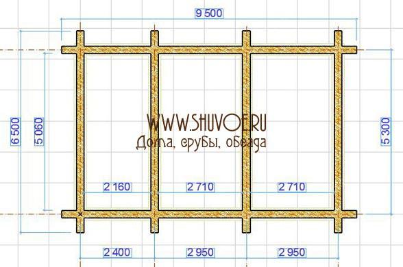Планировка сруба 6 на 9 с двумя параллельными внутренними стенами.