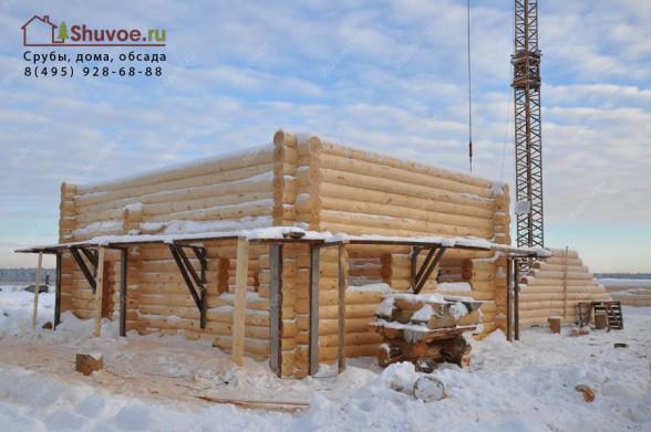 Готовый сруб дома 7х9 на рубочной площадке - зима 2016 года.