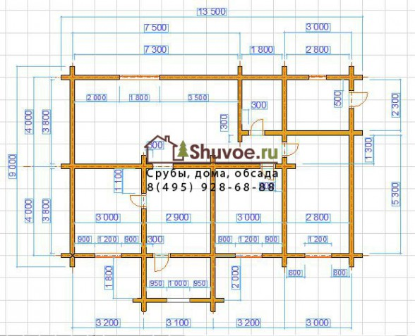 План - схема 1 этажа дома 9 на 13 метров.