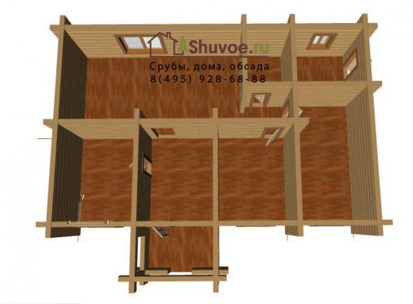 Вид сверху - модель сруба дома 9х13