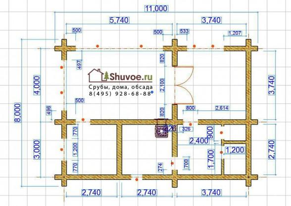 Схема сруба бани 8 на 11 метров.
