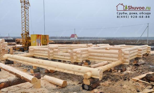 Строительство дома из сруба 9х14 метров в компании Шувое.