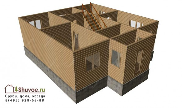 Модель брусового дома 9 на 9 метров.