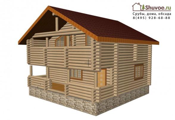 Проект деревянного дома-бани 10 на 10 метров.
