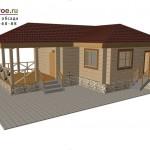 Проект дома 9х9 с верандой на основе сруба из лафета.